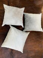 Set of 3 Cowhide Cushion Covers 16x16 in Grey White Real Cow Skin Pillowcase