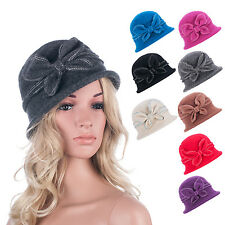 Pure Color 1920s Gatsby Womens Wool Warm Beanie Bow Hat Cap Crushable A286
