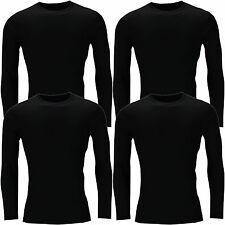 New Mens Long Sleeve T Shirt Muscle Top 100% Cotton Tee Plain Crew Neck Casual