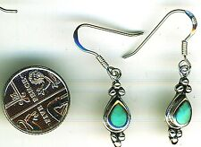 925 Sterling Silver Turquoise Drop / Dangle Earrings Length (with hooks) 1.3/8""