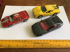Lot fo 3 mid size diecast Ferrari cars Burago, Maisto, GTO, 348