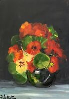 Print of Original oil painting art flowers nasturtiums mpressionism shabby chic