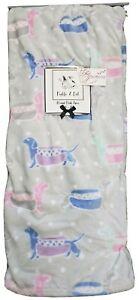 "Pickle & Dot Flannel Plush Throw w/ Dachshund Design   60"" x 70""  Gray/Multi"