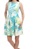 Gabby Skye Womens White Floral Pintuck Dress Size 12 NWT