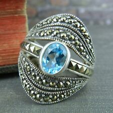 A925 Sterling Silver , Blue Topaz & Marcasite Ring