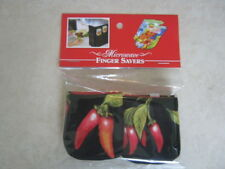 Hot Peppers-Cotton-Microwave Oven Mitts--Hot Pads-Pot Holder-Patty's Mitts Free