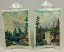 2 Porcelain Easel Bud Vases W/ Hand Painted Signed Waterfall & Mountain Scenes