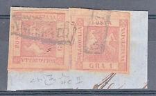 NAPOLI - 1858 - 1 grano+1 grano (4c) su frammento -  Raybaudi