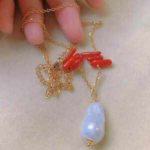 Natural baroque Pearl Red Coral pendant gold chain necklace Healing Beads Unisex