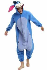 Eeyore Donkey Animal One Piece Adult Unisex Pajama Cosplay Costume Size L/XL