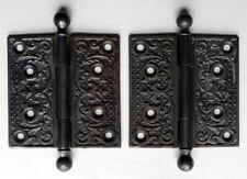 Antique 1890-1910 Art Nouveau Iron Door Hinges Foliate Scroll Fleur-de-lis 4X4
