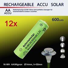 12  AA Solar Akku 600mAh 1,2V NiMH HR6 Mignon Ersatz für Solarleuchte Solarlampe