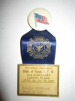 1943 VETERANS FOREIGN WARS RIBBON - V.F.W. - DEPT OF TEXAS - NICE - TUB BBA