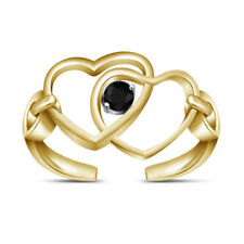 Diamond Double Heart Wrap Adjustable Toe Ring 10k Yellow Gold Fn Beach Jewelry