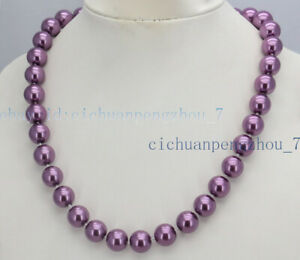 Genuine 8/10/12mm Multi-color South Sea Shell Pearl Round Beads Necklace 18'' AA