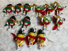 Lot Of 13 M&M's Christmas Carolers Ornament Red Green & Yellow M&M RARE Caroling