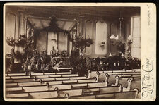 1880s Cabinet Card, Church Interior, Minister, Harvest Display, MW Cooper Groton