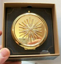 New listing Monet Gold Tone Double Mirror Compact Clear Crystals Starburst New