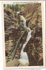 SEVEN FALLS Water Waterfalls Cheyenne Canon COLORADO Postcard CO White Border