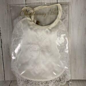 Vintage White Satin Keepsake BAPTISMAL BABY BIB Christening Bib Orig Package