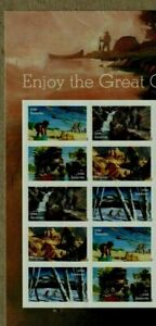 US NATURE HIKING BIKING #5475-79 ENJOY THE GREAT OUTDOORS 10 FOREVER STAMP BLOCK