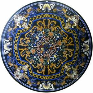 """42"""" Marble Dining Table Top Inlay Rare Semi Round Center Coffee Table AR0665"""