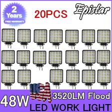 20X 48W LED Work Light Flood Light Off Road RZR Car Boat Jeep Truck Suv 12V 24V