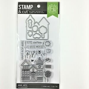 Hero Arts Stamp & Cut House Clear Stamp Die Set Tree Fence Moved Home Phrases