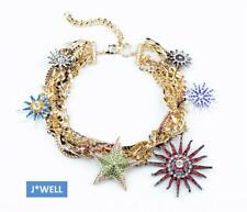 Betsey Johnson Crystal Sunflower Star Wrapped Multi-Chain Gold Fashion Necklace