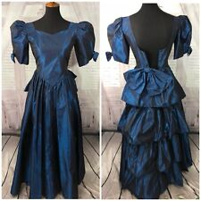Vtg 80s prom dress Blue taffeta Puff bow Sleeve ruffle formal ugly Bustle 0 2 ❤W