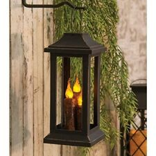 Primitive BURNT CINNAMON MUSTARD TAPER CANDLE LANTERN Lamp Battery Light Black