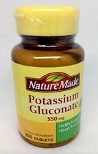 Nature Made Potassium Gluconate 550 mg 100 Tablets Dietary Supplement Heart