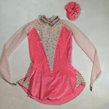 Sharene Girls Size XL Dance Figure Ice Skating Swarovski Crystals Dress In Pink