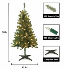 Home Accents Holiday 5' Pre Lit Clear Wood Trail Pine Artificial Christmas Tree