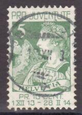 SWITZERLAND-1913- HELVETIA & LE CERVIN- 5 C. - GREEN stamp-Y&T nr.137