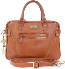Catwalk Collection Handbags - Ladies Vintage Leather Briefcase Cross Body Bag -
