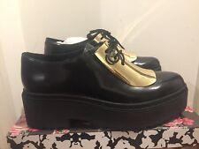 Jeffrey Campbell Gold Shield Black Platform Broques Oxford Shoes UK 6/EU 39