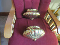 Vintage lot of 2 Ornate Home Interiors Gold Tone Wall Pocket Planters 10 3/4 x 6
