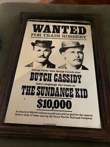 RARE BUTCH CASSIDY & THE SUNDANCE KID  MIRROR WANTED POSTER Rustic Western Vtg.