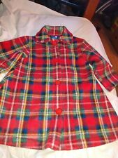 Wee Winter Woolies By Flap Happy Red Green Blue Yellow Plaid Button Jacket Size