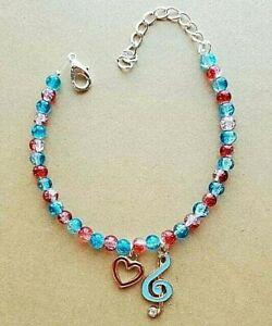 """Handmade Glass Beaded """"Love Music"""" Bracelet Adjustable Red, Blue"""