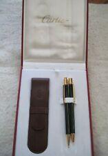 Cartier Stylo Must II Ballpoint Pen & Pencil & Case Paperwork  Black & Gold DS18