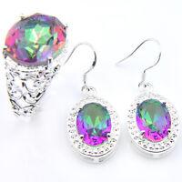 Gorgeous Oval Cut Mystical Rainbow Topaz Gemstone Silver Earrings Rings Sets
