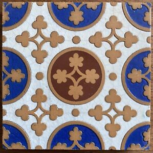 Superb moulded and inlaid Gothic/Arts & Crafts tile by J P Seddon