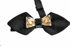 NEW Mens BLACK Crystal Diamond Looks Design Bow Tie Bowties Wedding Party Ball