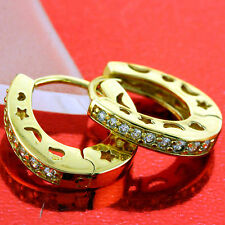 EARRINGS HUGGIE HOOPS REAL 18K YELLOW G/F GOLD DIAMOND SIMULATED DESIGN FS3AN652