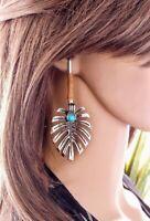 Bohemian Vintage Dangle Ear Stud 925 Silver Turquoise Hook Earrings Jewelry Gift
