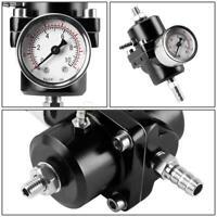 Adjustable 0-140PSI Fuel Pressure Regulator Parts Kit +Oil Gauge+Oil Hose Black