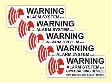 5 x ALARM GESICHERT Aufkleber KFZ gespiegelt Warnschild GPS Sticker Alarmanlage