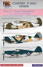 H-Model Decals 1/48 Curtiss P-36C Hawk. USAAF Pt.1 27th Pursuit Sqn in Class III